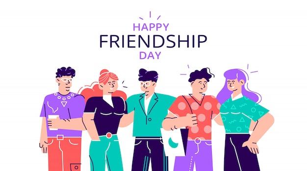 一緒にハイファイブをしている人々の多様な友人グループとの幸せな友情日webバナー。ソーシャルイベントの休日に若い世代。 webページ、カードのフラットスタイルのモダンなデザインイラスト