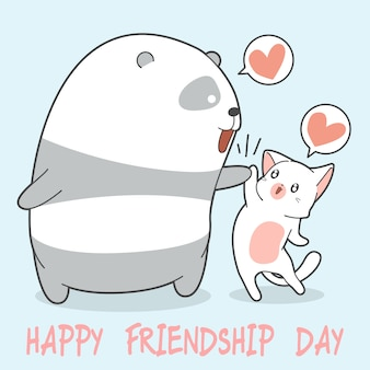 Happy friendship day with panda and cat.
