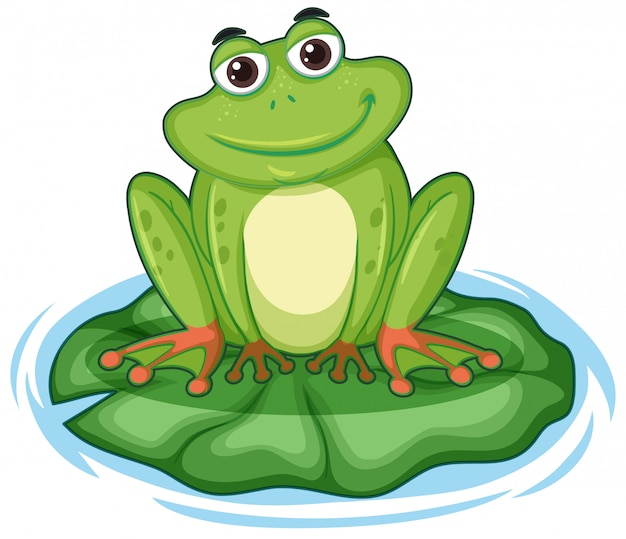 Happy frong sitting on lotus leaf