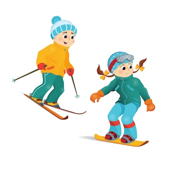 Happy funny boy and girl skiing downhill, winter sport