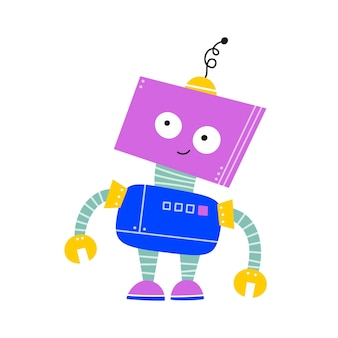 Happy funny cartoon childish robot character. colorful kids robot with thoughtful face. flat vector illustration isolated on white background.
