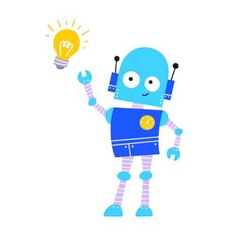 아이디어가 있는 행복한 재미있는 만화 유치한 로봇 캐릭터. 사려깊은 얼굴과 노란색 빛나는 전구를 가진 다채로운 어린이 로봇. 흰색 배경에 고립 된 평면 벡터 일러스트 레이 션
