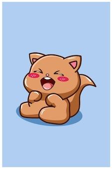 A happy and funny cat cartoon vector illustration