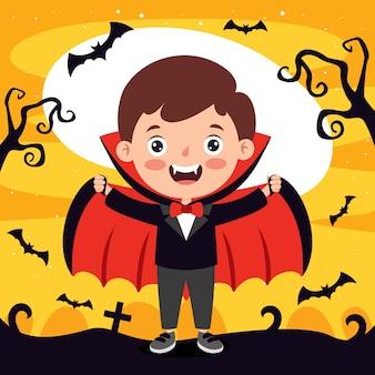 Счастливый смешной ребенок празднует хэллоуин