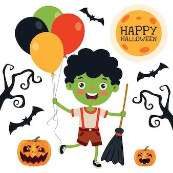 Happy funny child celebrating halloween