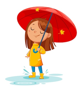 Happy funny child in rubber boots standing under umbrella, rainy autumn. cheerful girl