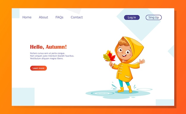 Happy funny child in yellow raincoat and rubber boots holding leaves rainy autumn