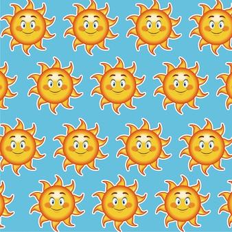 Happy funny sun smile wallpaper pattern cartoon