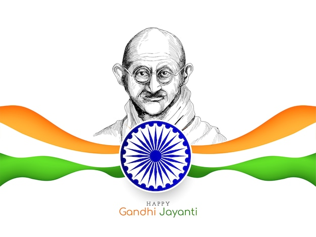 Happy gandhi jayanti background with indian tricolor flag