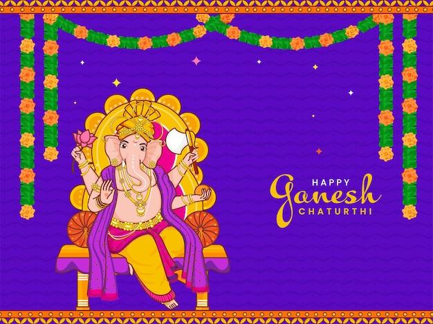 Счастливая концепция празднования ганеша чатуртхи со статуей лорда ганеши и цветочной гирляндой на фоне фиолетовых зигзагообразных линий.