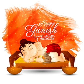 Happy ganesh chaturthi design with background