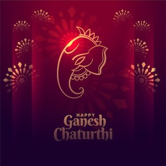 Happy ganesh chaturthi festival shiny card design