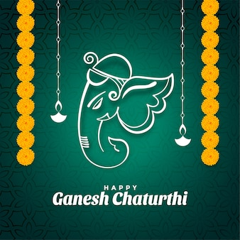 Happy ganesh chaturthi festival wishes card with marigold flowers