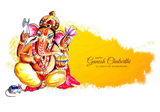 インドのお祭りの背景の幸せなガネーシャチャトゥルシー
