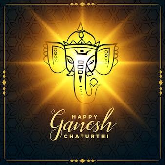 Happy ganesh chaturthi glowing festival card design