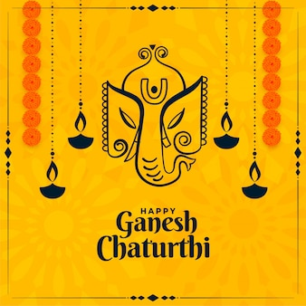 Happy ganesh chaturthi indian festival yellow card