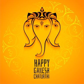 Happy ganesh chaturthi mahotsav celebration greeting template