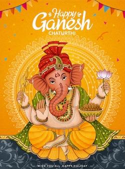 Happy ganesh chaturthi poster design on chrome yellow background