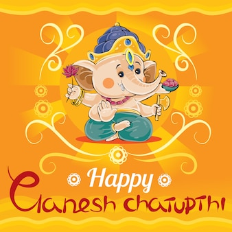 Happy ganesh chaturthi, traditional holiday in hinduism