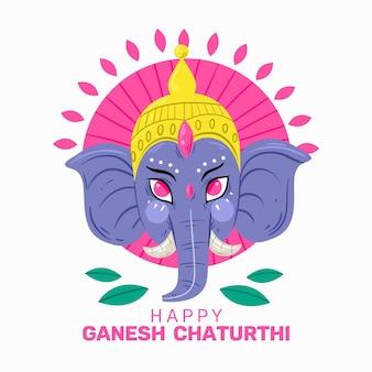 Happy ganesh chaturthi with elephant