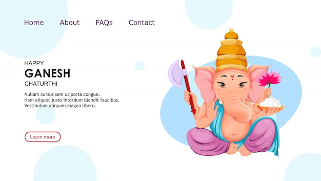 Happy ganesh landing page template