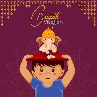 Happy ganpati visarjan banner design with boy holding ganpati