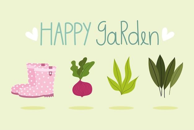 ハッピーガーデン、ビート植物の葉とブーツ、バナー