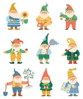 Happy garden gnomes with watering can shovel flower fairytale dwarfs in hats cartoon set