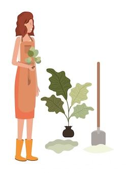 Happy gardener planting avatar character