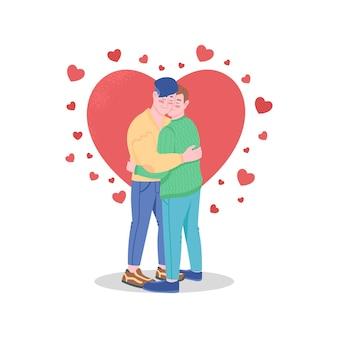 愛の色の詳細な文字で幸せな同性愛者のカップル。バレンタインデーのお祝い。
