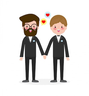 Happy gay couple in wedding attire and  flat modern style illustration design clip art isolated on white background.