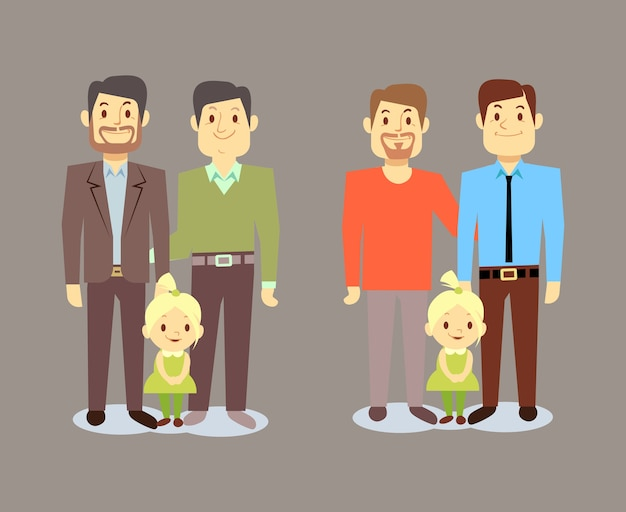 Happy gay lgbt men families with children