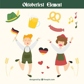 Happy german people and set of elements