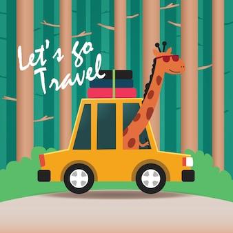 Happy giraffe driving a car