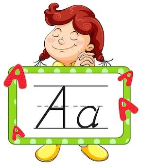Ragazza felice e flashcard dell'alfabeto per la lettera a