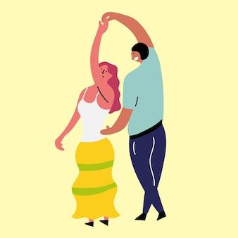 행복한 소녀와 소년 춤