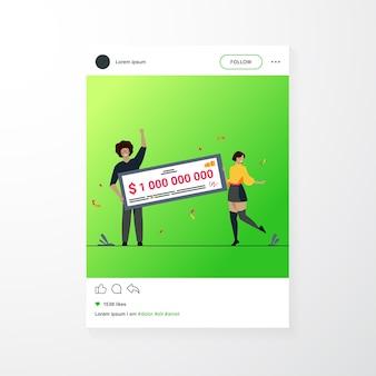 행복 한 소녀와 남자는 수십억의 현금을 받고 상금을 받고 은행 수표를 들고 있습니다. 그랜트, 복권 우승자, 잭팟 개념에 대한 평면 벡터 일러스트 레이션