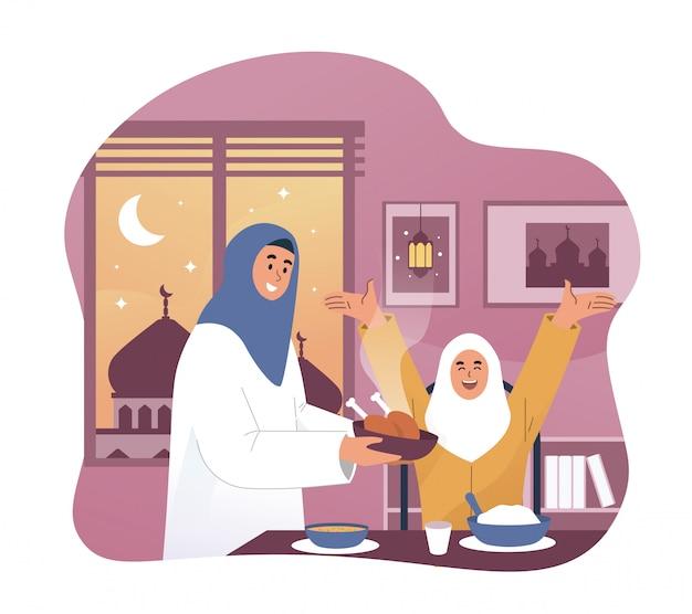 Счастливая девушка и ее мать наслаждаются едой рамадан ифтар