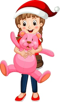 Счастливая девушка мультипликационный персонаж держит плюшевого мишку