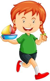 장난감 배를 들고 행복 소녀 만화 캐릭터