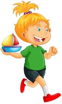 Счастливая девушка мультипликационный персонаж держит игрушечный корабль