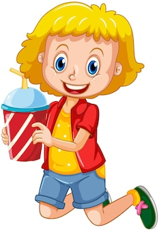 Happy girl cartoon character holding a drink plastic cup