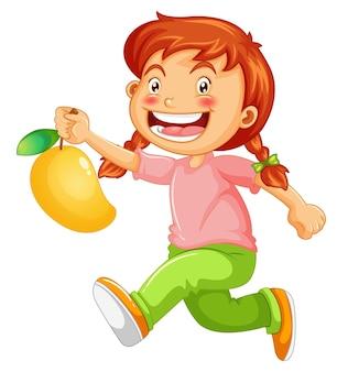 Personaggio dei cartoni animati della ragazza felice che tiene un mango