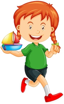 Happy girl cartoon character holding a toy ship