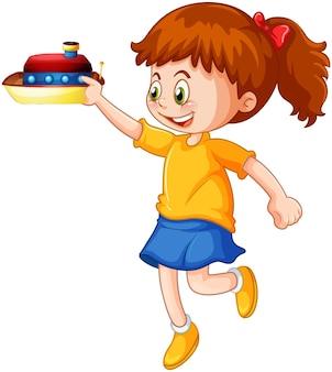 Personaggio dei cartoni animati ragazza felice che tiene una nave giocattolo