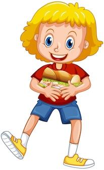 フードサンドイッチを抱き締める幸せな女の子の漫画のキャラクター
