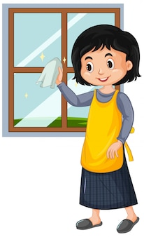 Happy girl cleaning window on white background