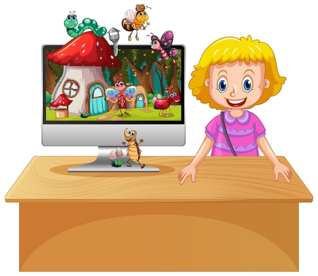 Happy girl next to computer with insect in magical land desktop background