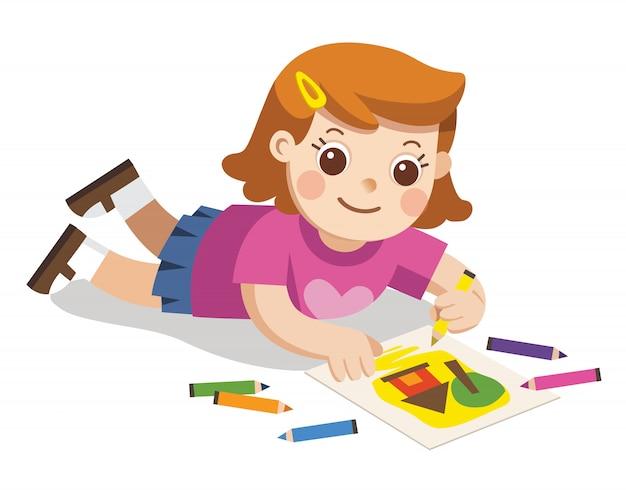 Счастливая девушка рисует картины карандашами и красками на полу. изолированные вектор.