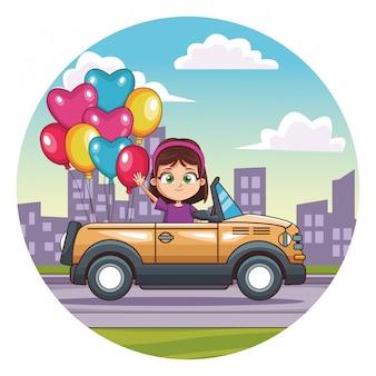 Happy girl driving car